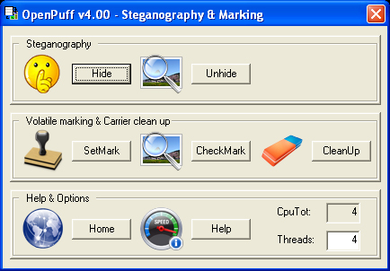 OpenPuff Steganography & Watermarking full screenshot